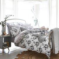 Bianca Cotton Sprig Grey Duvet Cover and Pillowcase Set Grey