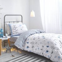 Bianca Cotton Nordic Blue Duvet Cover and Pillowcase Set Sky (Blue)