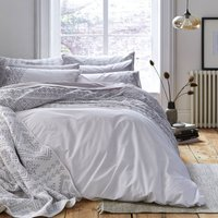 Bianca Cotton Aztec Embroidered Duvet Cover and Pillowcase Set White