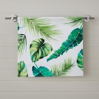 Tropical Leaf Digitally Printed Hand Towel Green
