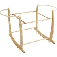 clair de lune natural deluxe rocking moses basket stand pine (brown)