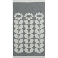 Olive and Orange Tall Flower Grey Towel Grey