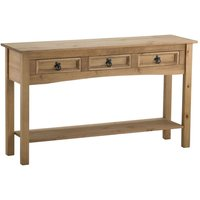 corona 3 drawer console table natural