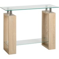 milan glass console table natural