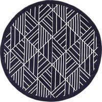 Round Geometric Towel Black and White