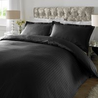 Sateen Black Stripe 300 Thread Count Duvet Cover Set Black