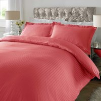 Sateen Rose Pink Stripe 300 Thread Count Duvet Cover Set Pink