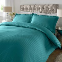 Sateen Turquoise Stripe 300 Thread Count Duvet Cover Set Green
