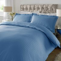 Sateen Blue Stripe 300 Thread Count Duvet Cover Set Blue