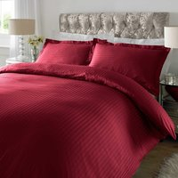 Sateen Maroon Stripe 300 Thread Count Duvet Cover Set Red