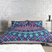 Medallion Purple Patterned Duvet Cover Set Purple
