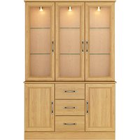 Princeton Ivory Light Oak Glass Door Large Display Unit Rose Gold