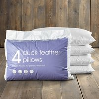 Pack of 4 Duck Feather Pillows White