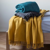 Teal Linear Pleat Super Soft Pleat Throw Teal