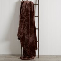 Chocolate Raschel Cosy Throw Chocolate Brown