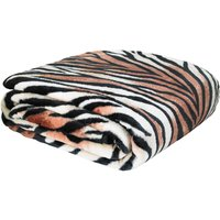 Tiger Raschel Cosy Throw Brown, Black and White