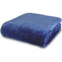 Navy Raschel Cosy Throw Navy Blue