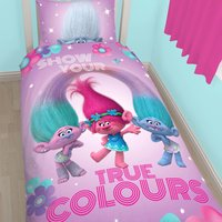 Trolls Glow Reversible Single Duvet Cover and Pillowcase Set Pink