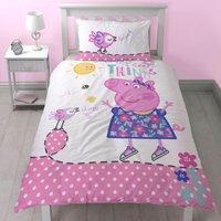 Peppa Pig Happy Reversible Single Duvet Cover and Pillowcase Set Pink