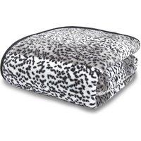 Leopard Animal Print Raschel Silver Throw Silver