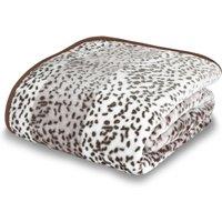 Leopard Animal Print Raschel Tan Throw Natural
