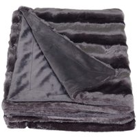 Charcoal Striped Faux Fur Throw Charcoal