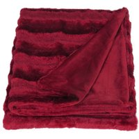 Red Striped Faux Fur Throw Red