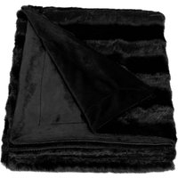 Black Striped Faux Fur Throw Black