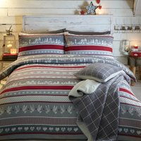 Nordic Xmas 100% Brushed Cotton Duvet Cover and Pillowcase Set Grey