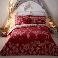 Reindeer Family Reversible Red Duvet Cover and Pillowcase Set Red