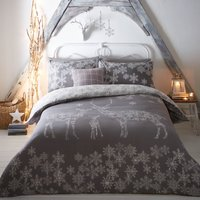 Reindeer Family Reversible Grey Duvet Cover and Pillowcase Set Red
