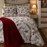 Winter Foliage Reversible Duvet Cover and Pillowcase Set White