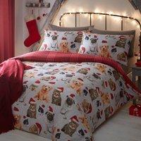 Festive Animals Reversible Duvet Cover and Pillowcase Set Multi Coloured