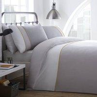 Racing Green Lawson 100% Cotton Duvet Cover and Pillowcase Set Grey