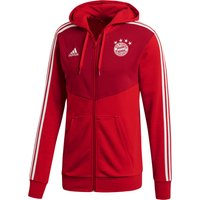 Bayern Munich 3 Stripe Full Zip Hoody - Red