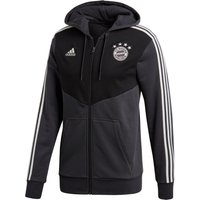 Bayern Munich 3 Stripe Full Zip Hoody - Black