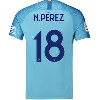 Atlético de Madrid Away Cup Stadium Shirt 2018-19 with N. Pérez 18 printing