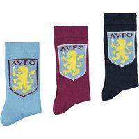 Aston Villa 3PK Classic Socks - Navy/Claret/Sky Blue - Junior