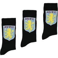 Aston Villa 3PK Classic Socks - Black - Junior