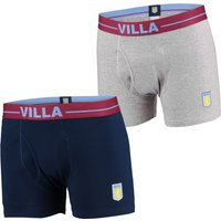 Aston Villa 2PK Boxer Shorts - Grey/Navy - Mens
