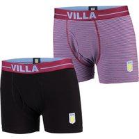 Aston Villa 2PK Home and Away Boxer Shorts - Black/Claret - Mens