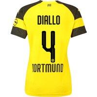 Bvb Home Shirt 2018-19 - Womens With Diallo 4 Printing