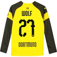 BVB Home Shirt 2018-19 - Kids - Long Sleeve with Wolf 27 printing