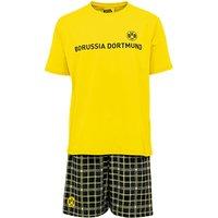 BVB Check Shorts and T-Shirt Pyjamas - Yellow/Black