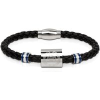 Chelsea Black Leather Crest Bracelet - Stainless Steel