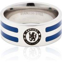 Chelsea Stripe Crest Ring - Stainless Steel