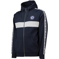 Chelsea Full Zip Taped Sleeve Hoodie - Navy - Mens