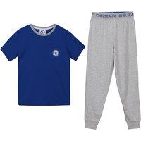 Chelsea Cuffed Bottom Pyjamas - Blue/Grey - Boys