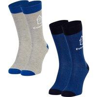 Everton 2 Pack Ankle Sock - Grey/Stripe - Mens