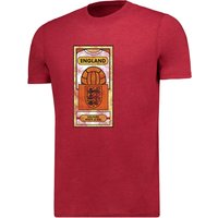 England Retro Cards T-Shirt - G Red Marl - Mens